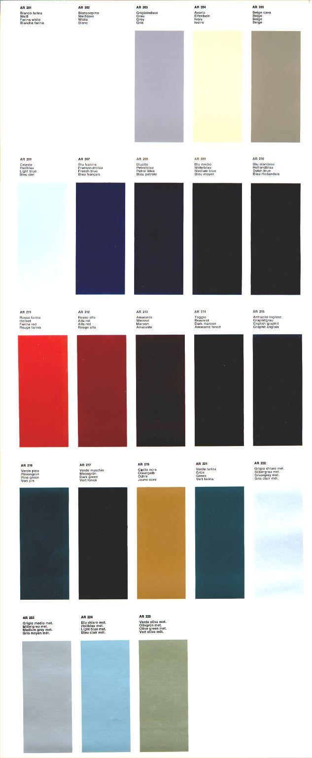 1968 Alfa Romeo Color Chart